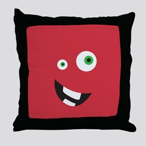 Silly Face - Red Throw Pillow