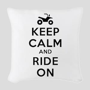 Keep Calm Ride On Woven Throw Pillow