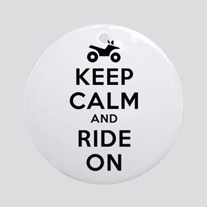 Keep Calm Ride On Ornament (Round)