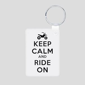 Keep Calm Ride On Aluminum Photo Keychain