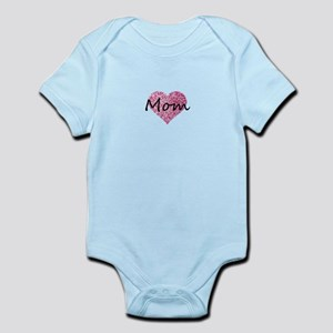 mom pink glitter heart Body Suit