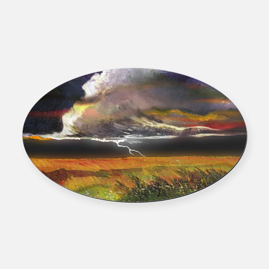 Approaching Storm Clouds Oval Car Magnet