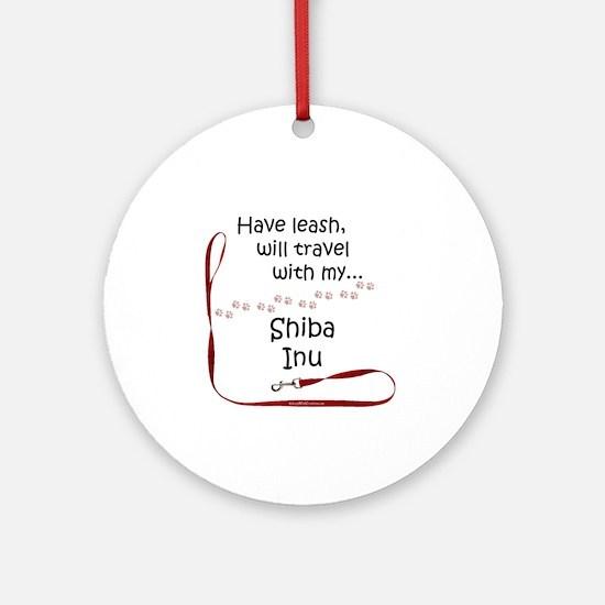 Shiba Travel Leash Ornament (Round)