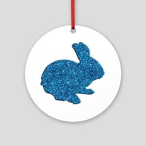 Blue Glitter Silhouette Easter Bunny Ornament (Rou