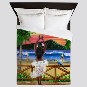 HAWAIIAN SUNSET HULA Queen Duvet