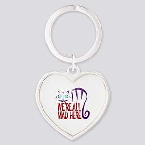 We're All Mad Here Heart Keychain