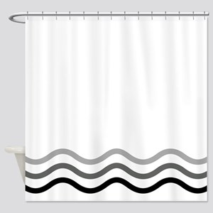 Gray Waves Shower Curtain