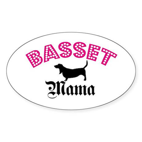 Basset Mama Oval Sticker