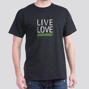 Live Love Embroidery Dark T-Shirt