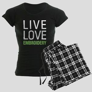 Live Love Embroidery Women's Dark Pajamas