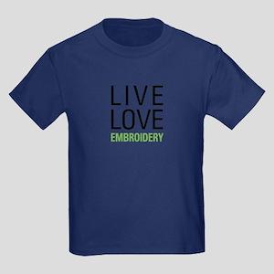 Live Love Embroidery Kids Dark T-Shirt