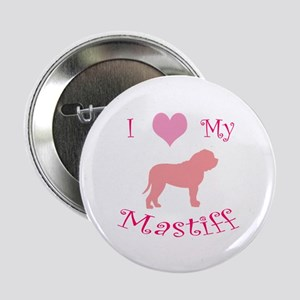 pink heart mastiff Button