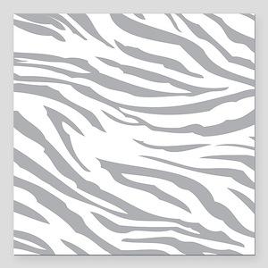 """Grey Zebra Print Square Car Magnet 3"""" x 3"""""""