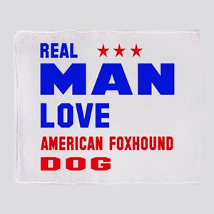 Real Man Love American foxhound Dog Throw Blanket
