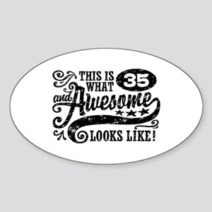 35th Birthday Sticker (Oval)
