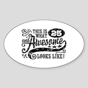 25th Birthday Sticker (Oval)