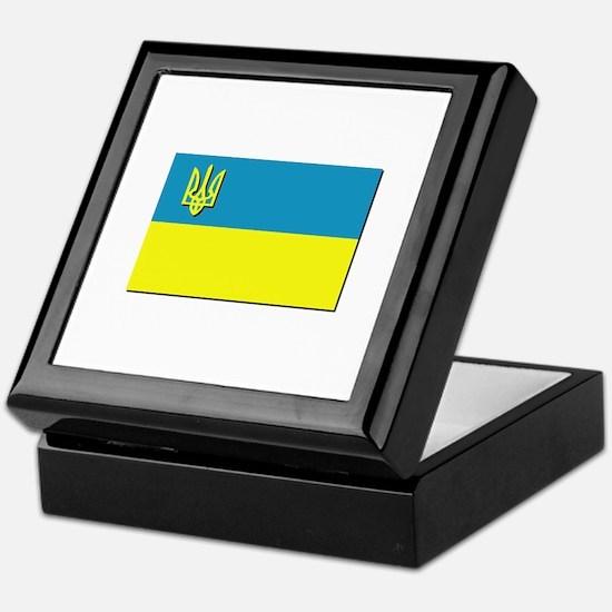 Flag of Ukrainian Trident Keepsake Box