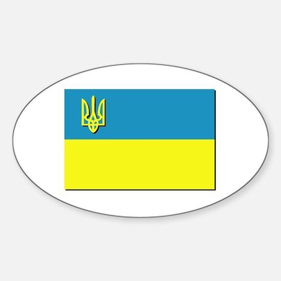 Flag of Ukrainian Trident Sticker (Oval)