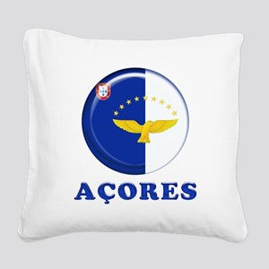 Azores islands flag Square Canvas Pillow