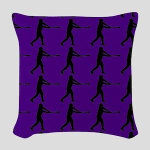 Purple Baseball Batter Pattern Woven Throw Pillow