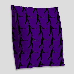 Purple Baseball Batter Pattern Burlap Throw Pillow