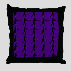 Purple Baseball Batter Pattern Throw Pillow