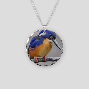 Azure Kingfisher Necklace Circle Charm