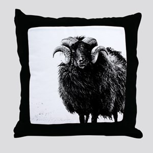 Black Ram Throw Pillow