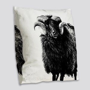 Black Ram Burlap Throw Pillow