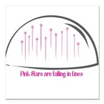 Pink Stars are falling in Lines Square Car Magnet