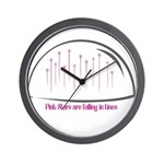 Pink Stars are falling in Lines Wall Clock