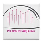 Pink Stars are falling in Lines Tile Coaster