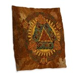 Celtic Pyramid Mandala Burlap Throw Pillow