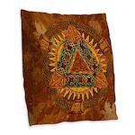Celtic Pyramid Mandala Burlap Throw Pillow