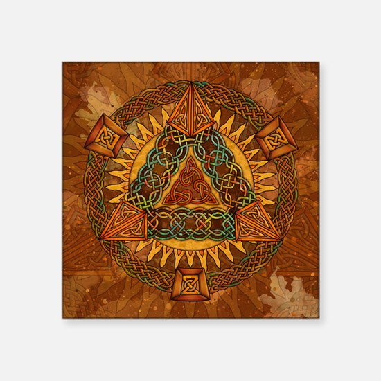 "Celtic Pyramid Mandala Square Sticker 3"" x 3"""