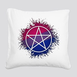 Bisexual Pride Pentacle Square Canvas Pillow