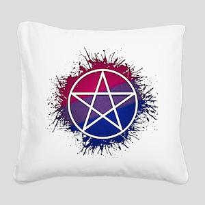 Bisexual Pride Pentacle Square Canvas Pillow