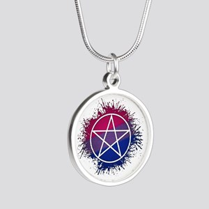 Bisexual Pride Pentacle Silver Round Necklace