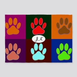 Colorful Dog Paws In Squares 5'x7'area Rug