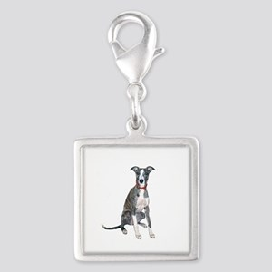 Whippet #1 Silver Square Charm