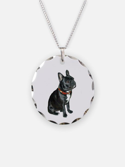French Bulldog (blk2) Necklace Circle Charm