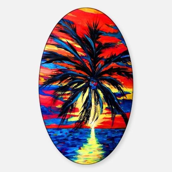 Sunset Palm Sticker (Oval)