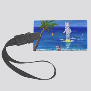 E Bunny at the Beach Large Luggage Tag