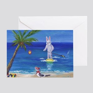 E Bunny at the Beach Greeting Card