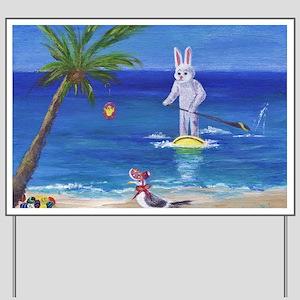 E Bunny at the Beach Yard Sign