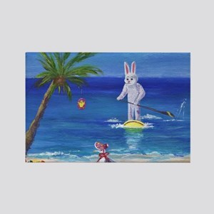 E Bunny at the Beach Rectangle Magnet