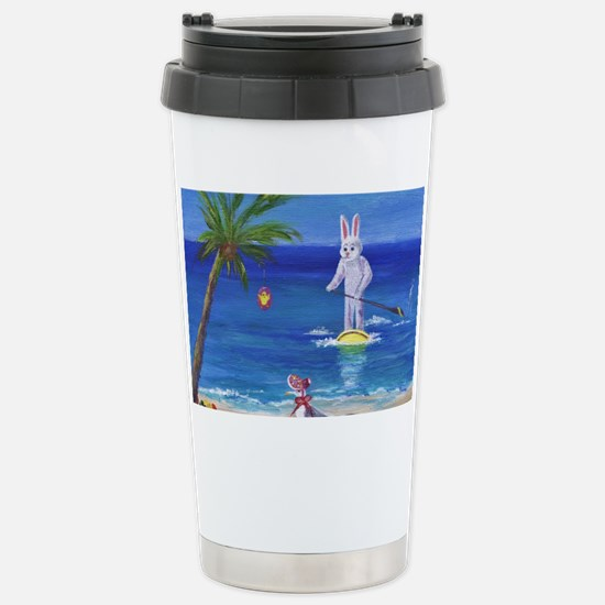 E Bunny at the Beach Stainless Steel Travel Mug