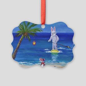 E Bunny at the Beach Picture Ornament