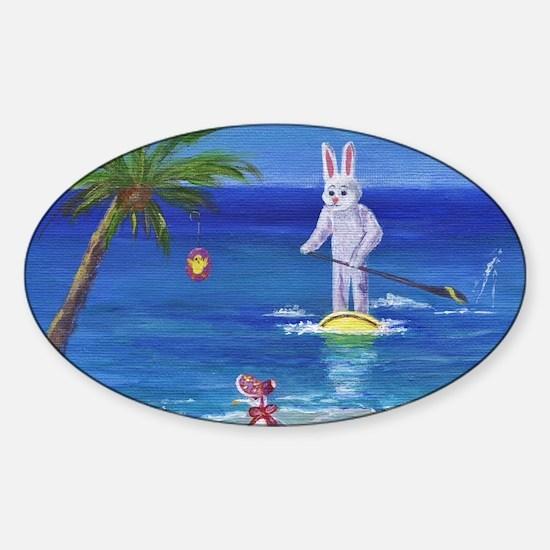 E Bunny at the Beach Sticker (Oval)