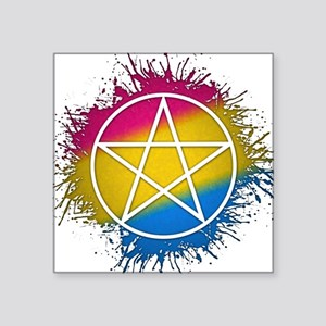 """Pansexual Pride Pentacle Square Sticker 3"""" x 3"""""""